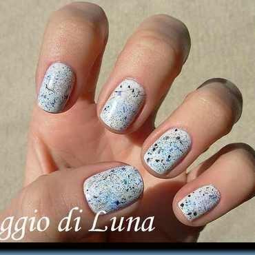 Blue & black & silver splatter manicure on white nail art by Tanja
