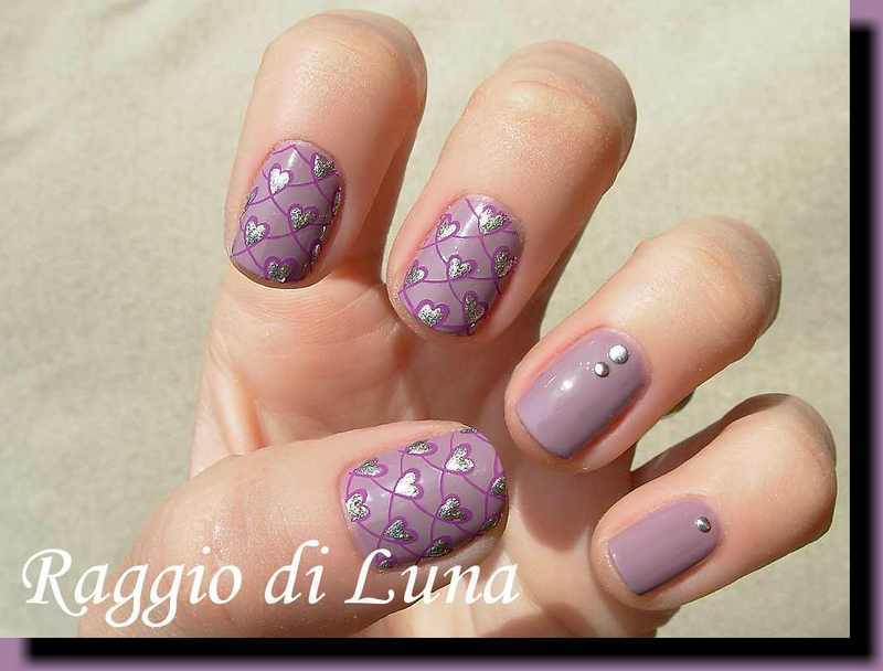 Stamping: Silver hearts on rose taupe nail art by Tanja