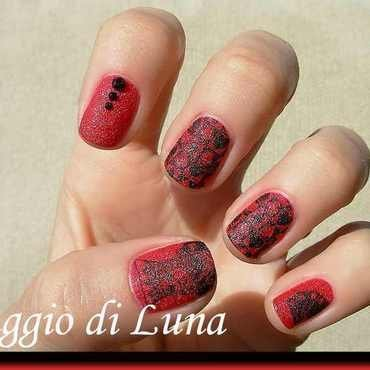 Stamping: Black cards on textured red nail art by Tanja