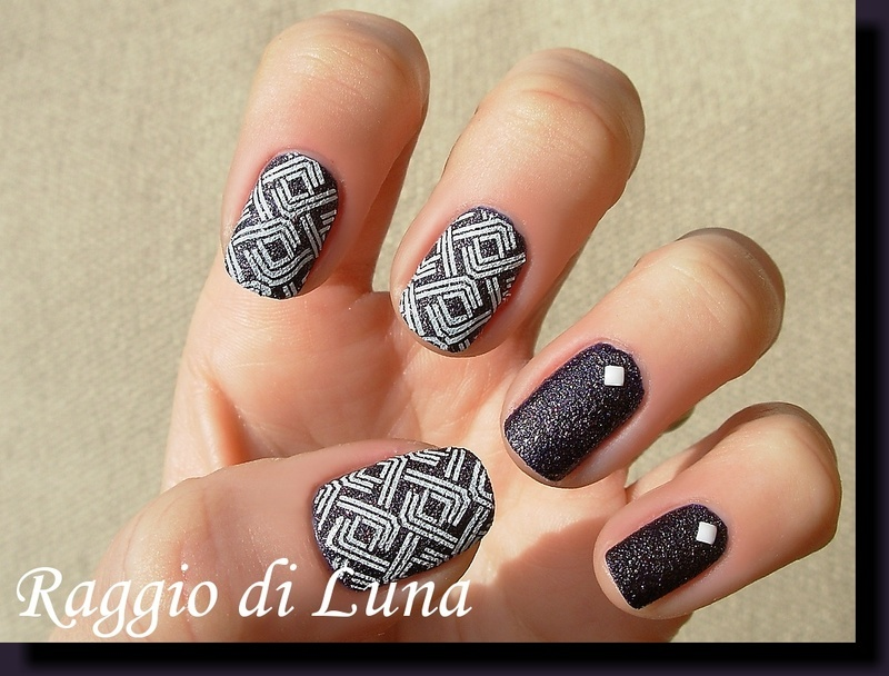 Line Texture On Nails : Square white lines on textured dark purple nail art by