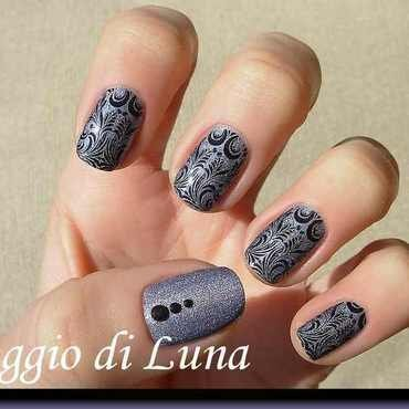 Stamping: Black arabesque on holo purple nail art by Tanja