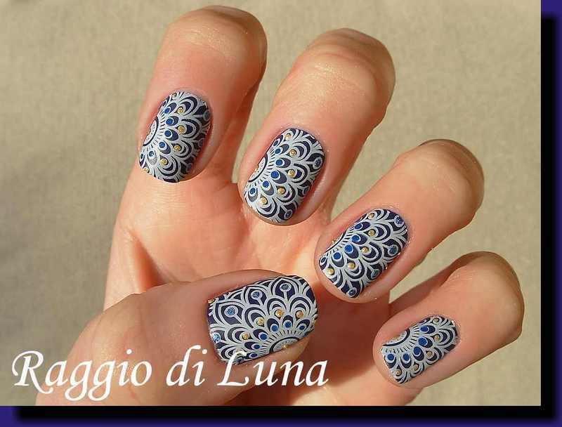 Stamping: White floral pattern on dark purple nail art by Tanja