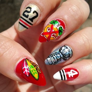 Blackhawks Stanley Cup Champs nail art by Kristen Lovett