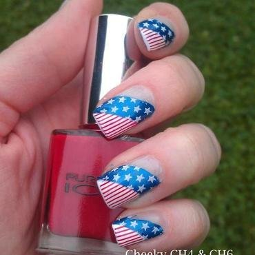 Red, White and Blue nail art by Gr8Nails