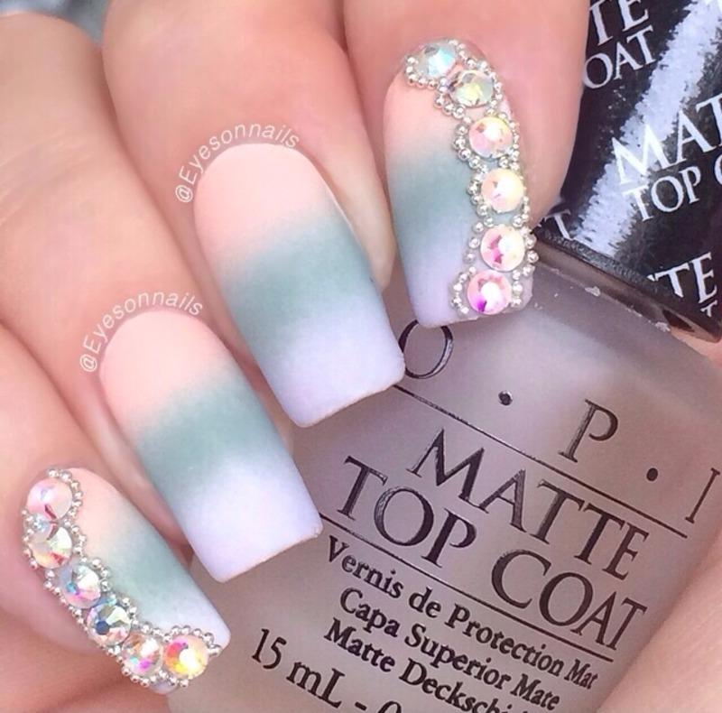 Matte gradient and rhinestones 💎💎💎 nail art by Virginia