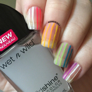 Negative Space Rainbow nail art by Michelle