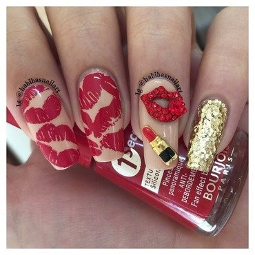 Red lips  nail art by Habiba  El-kallas