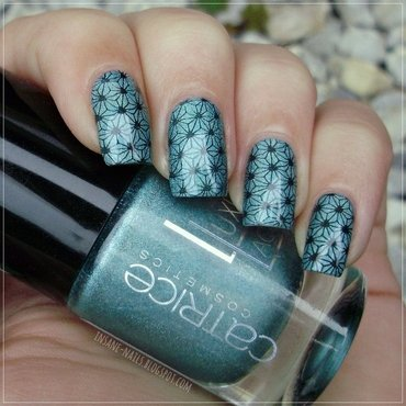 Stamping plate hehe 024 by Lady Queen nail art by Sanela