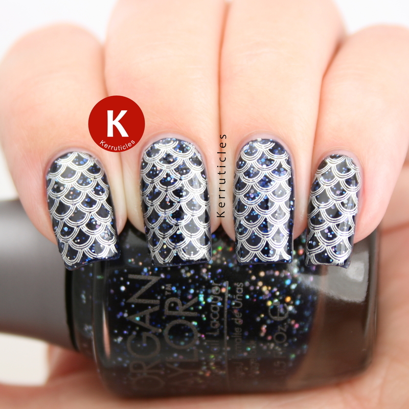Navy glitter with mermaid scales nail art by Claire Kerr