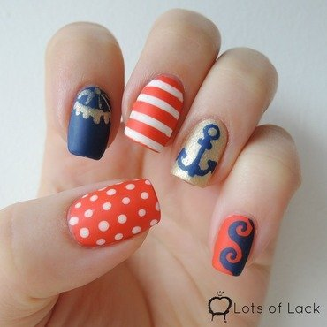 Sail away! Nautical Nail Art nail art by LotsOfLack