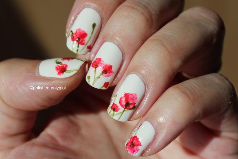 Freehand poppy flowers nail art by Polished Polyglot