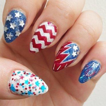 4th of July 2015 nail art by Kristen Lovett