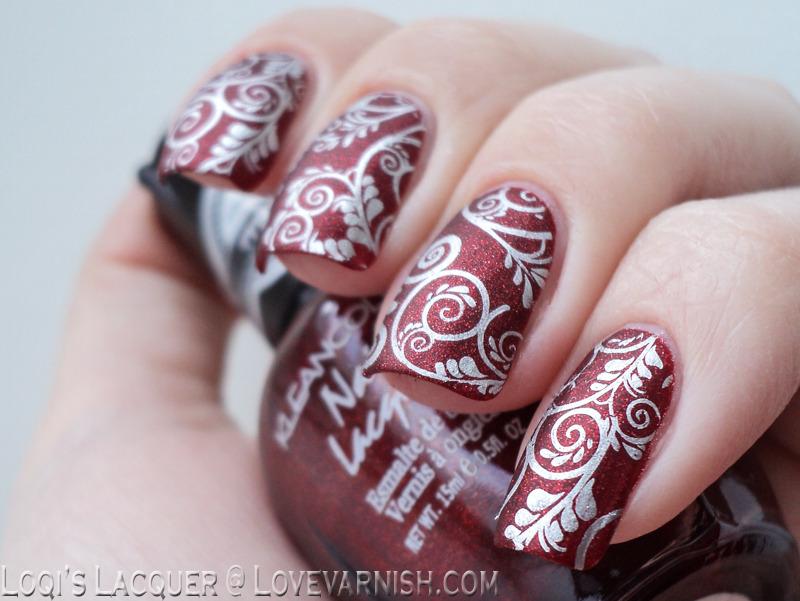 Silver curls nail art by Loqi