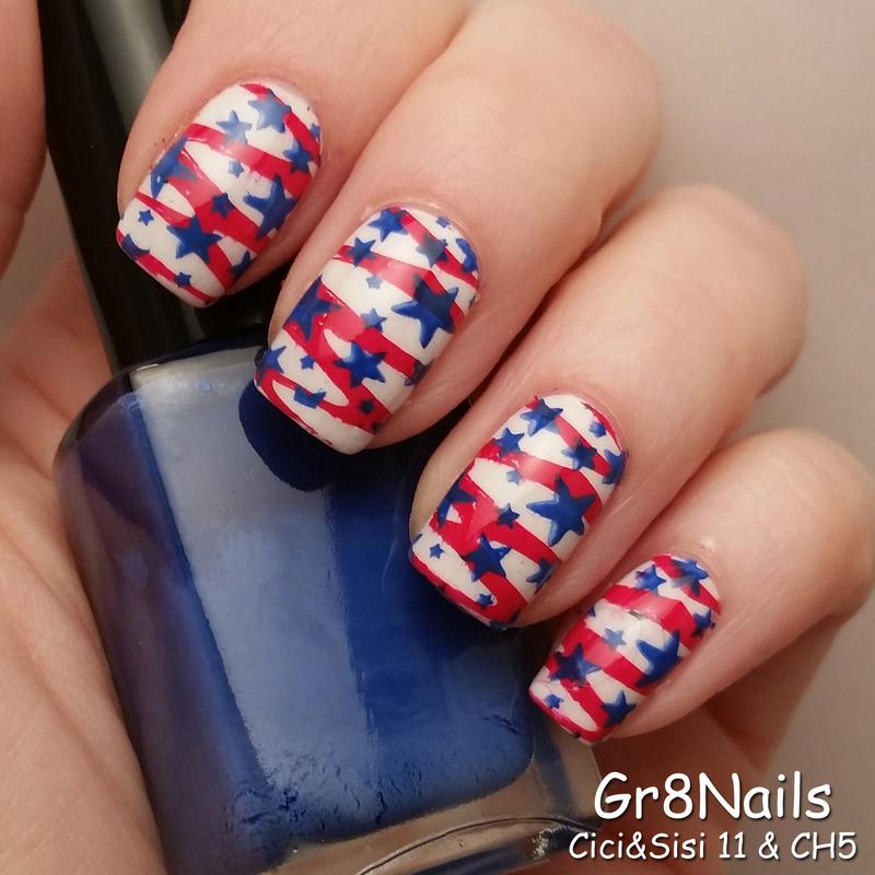 4th of July nail art by Gr8Nails