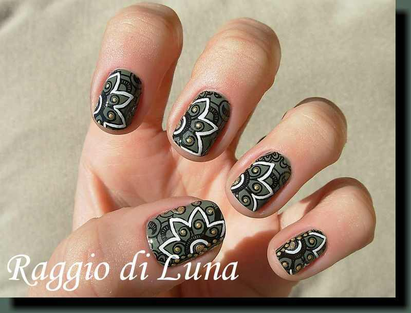 Floral stamping on military green nail art by Tanja