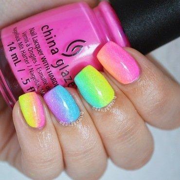 Rainbow gradient nail art by Julia