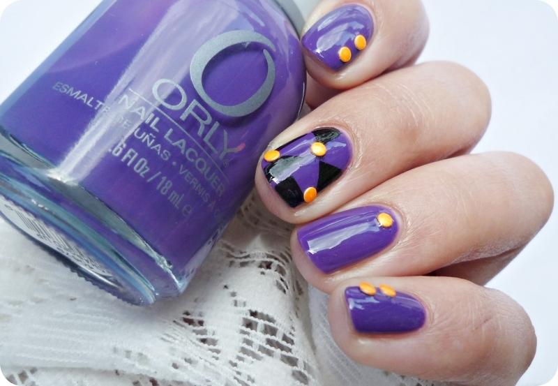 Violet, black & orange nail art by Romana