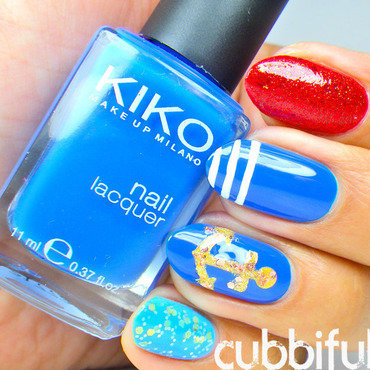 Glitter Sailor Nails nail art by Cubbiful