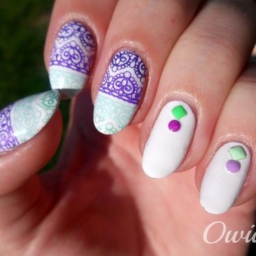 Colorful lace and studs. nail art by Owidia