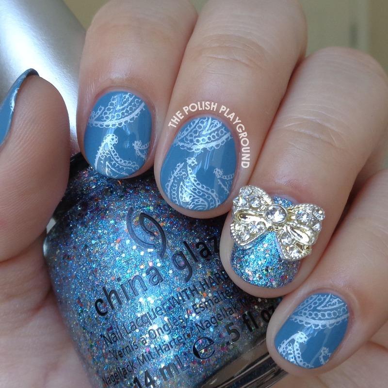 Blue and Silver Paisley Print nail art by Lisa N