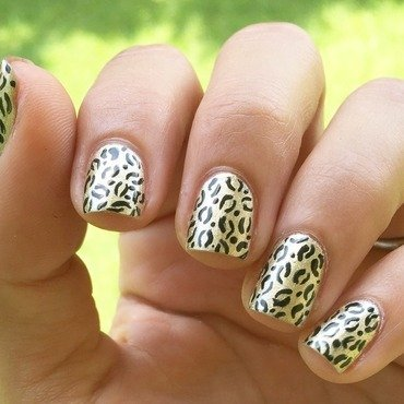 Gold leopard  nail art by Ashley