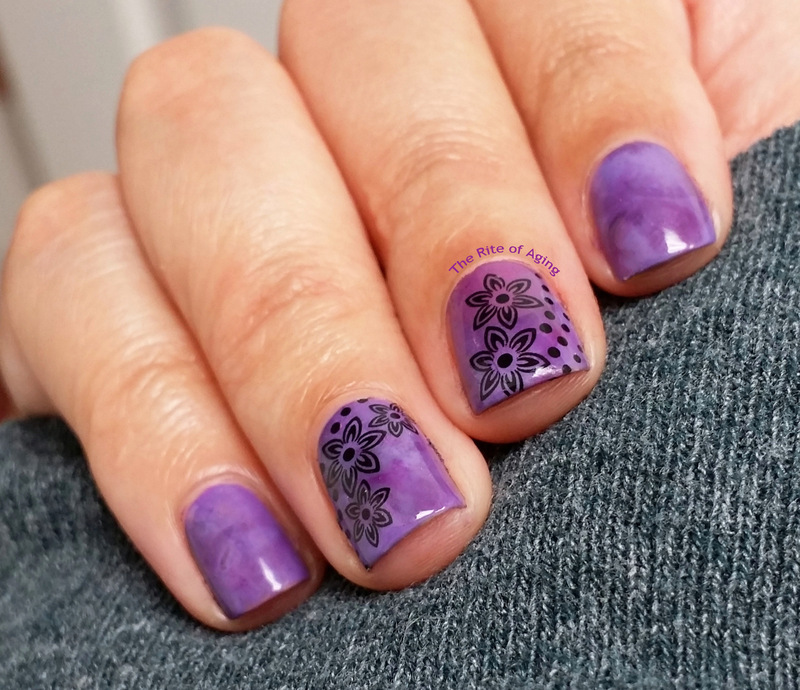 Purple Watercolor and Floral Decal Nail Art nail art by Monica