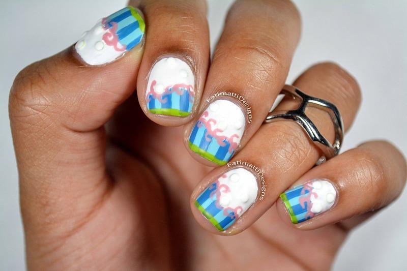 Cake Inspired nail art by Fatimah