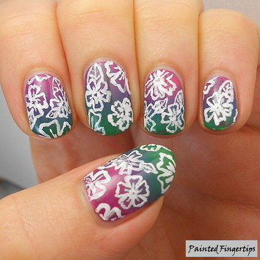 Freehand flowers over a gradient nail art by Kerry_Fingertips