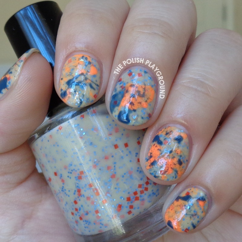 Neon Orange And Blue Splatter Nail Art By Lisa N