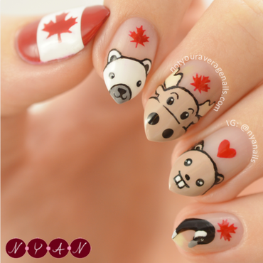 Canada Day 2015 nail art by Becca (nyanails)