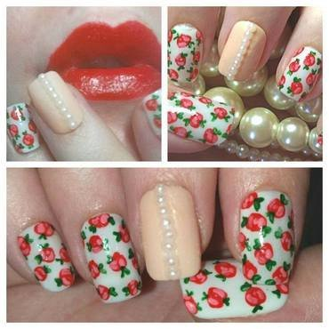 White vintage floral nail art by Ellie Louise