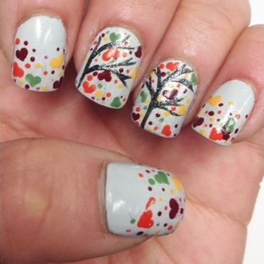 Throwback Thursday: Fall Trees nail art by Kristen Lovett