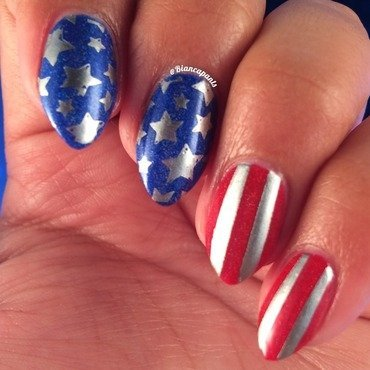 Stars and Stripes nail art by Bianca  Pants