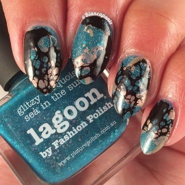 OMD3 Day 1: Teal nail art by Bianca  Pants