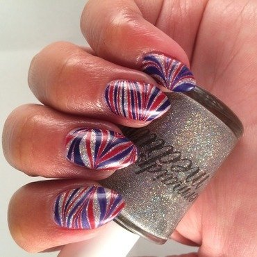Patriotic Water Marble nail art by Bianca  Pants