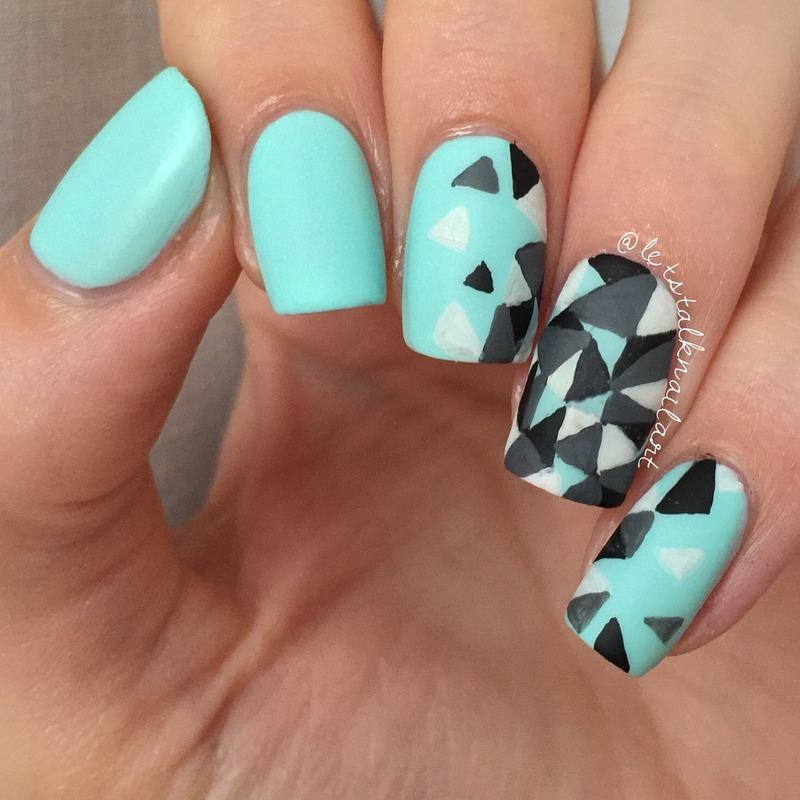 Triangle Tetris nail art by Lottie