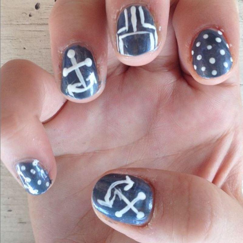 Throwback Thursday: Quick Sailor Nails nail art by Kristen Lovett