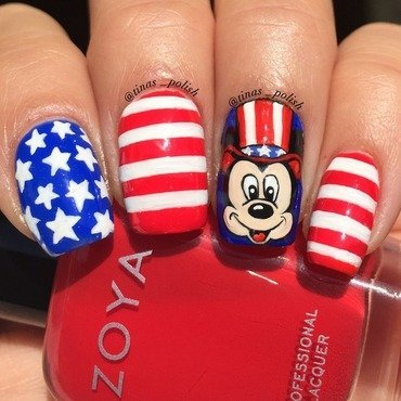 Fourth of July with Mickey Mouse  nail art by Christina