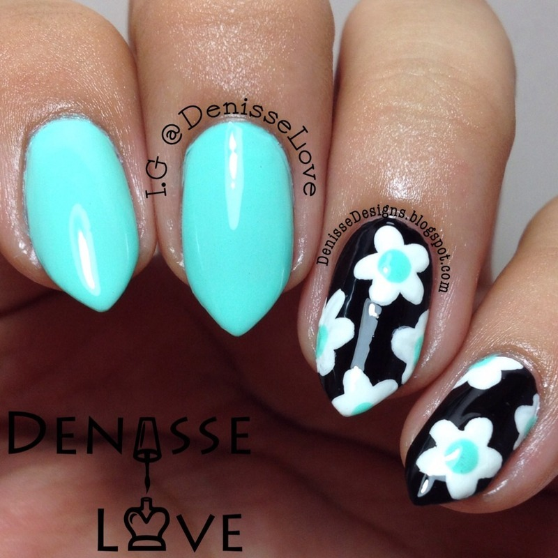 Summer Floral nail art by Denisse Love