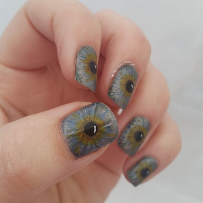 eyes nail art by Funky fingers nail art