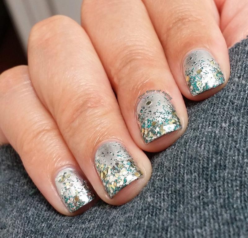 Silver Glitter Gradient nail art by Monica
