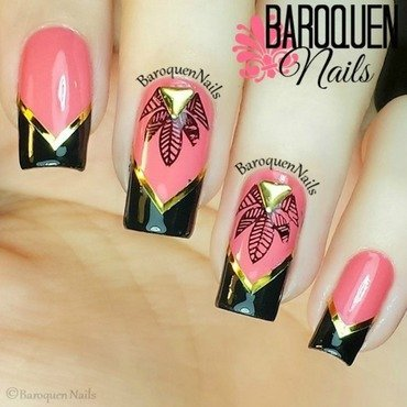 Tropical Chevron nail art by BaroquenNails