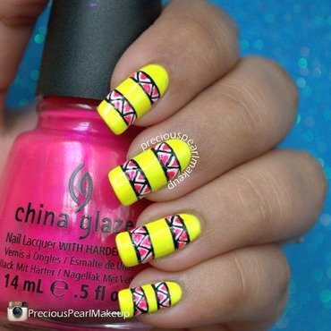 Neon Stripes and Triangles nail art by Pearl P.