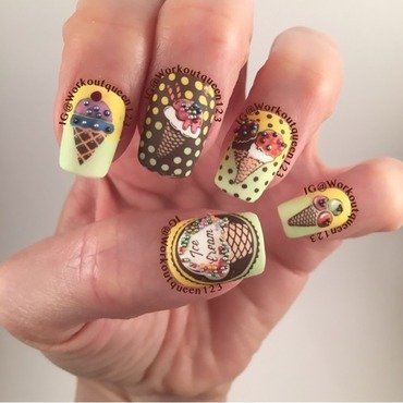 Ice Cream nail art by Workoutqueen123