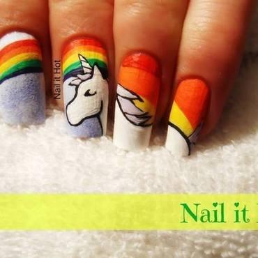 Unicorn  nail art by Nail_it_hot