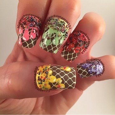 Melting Ice Cream nail art by Workoutqueen123