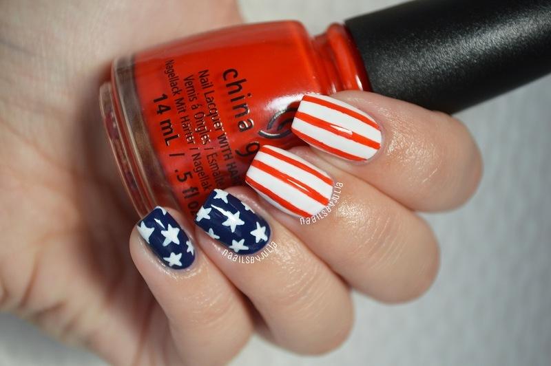 4th of july  nail art by Julia