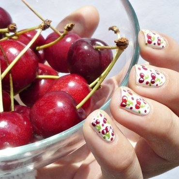 Cherry Nails nail art by Romana