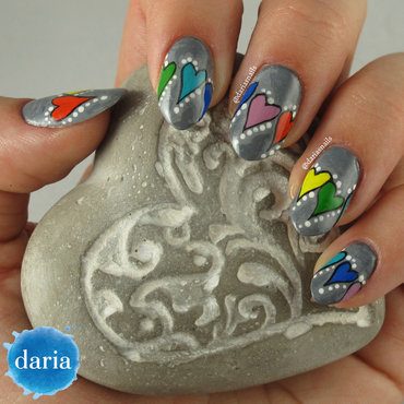 Stone hearts nail art by Daria B.