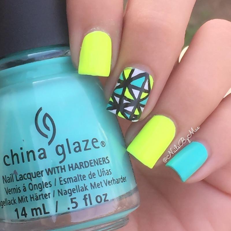 Neon Colors Shapes nail art by Sheily (NailsByMae)